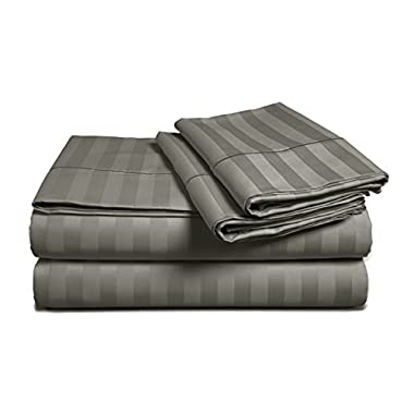Chateau Home Hotel Collection - Luxury 500 Thread Count 100% Egyptian Cotton Damask Stripe Deep Pocket Super Soft Sateen Weave Sheet Set, Mega Sale Lowest Prices, Queen-Charcoal Grey