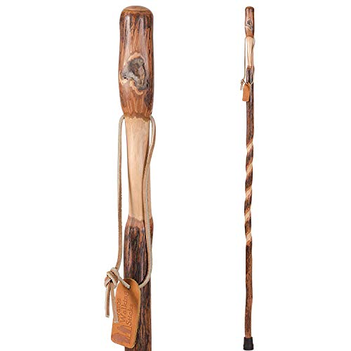 Brazos Trekking Pole, Hiking Pole, Hiking Stick or Walking Stick Handcrafted of Lightweight Wood and Made in the USA, Traditional, Hickory, 55 Inches (602-3000-1281)