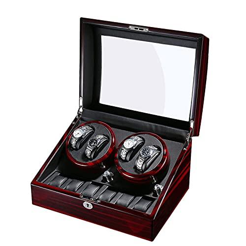Caja giratoria de relojes de lujo con rotación automática de 4 + 6, 5 modos, hecha a mano, sin ruido, alta transparencia y buena seguridad, adecuada para colocarlo en el dormitorio