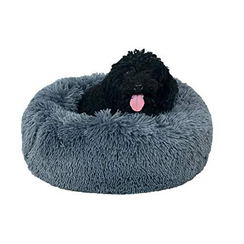 Hundebett Plüsch Rund Katzenbett,waschbar Hundekissen Premium Orthopädisches Haustierbett,Donut Hundekörbchen(Dunkelgrau,Ø 60CM)