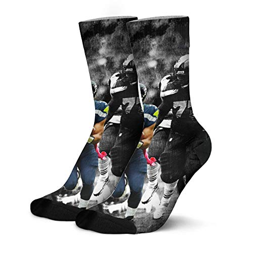 Mens Basketball Socks Russell-Wilson-3-black-Distressed-Keem- Design Boot Socks Knit Crew Socks
