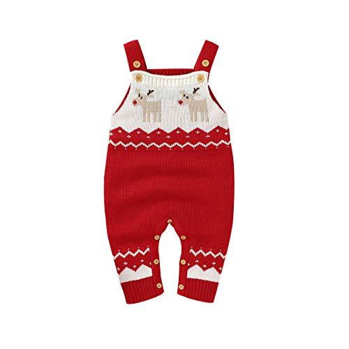 mimixiong Baby Maglione Pagliaccetto Tute Natalizie Completi per imbracature di Renne lavorate a...