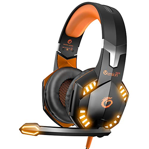 VersionTECH. G2000 Stereo Gaming Headset for Xbox one PS4 PC, Surround Sound Over-Ear Headphones with Noise Cancelling Mic, LED Lights, Volume Control for Laptop Mac PS3 iPad Nintendo Switch - Orange