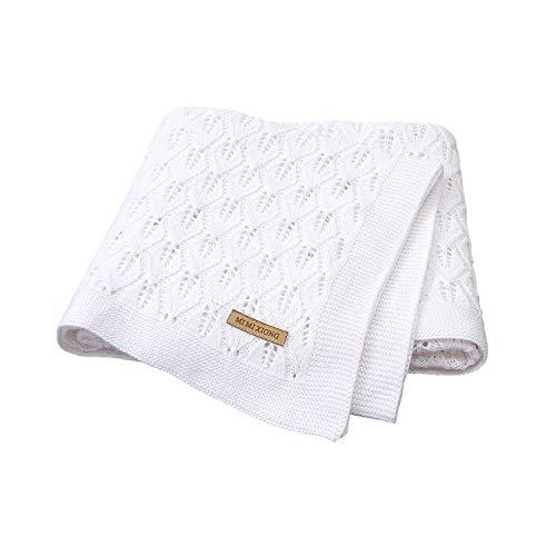 mimixiong 100% algodón tejido manta de para bebé 80x100 cm (Blanco)