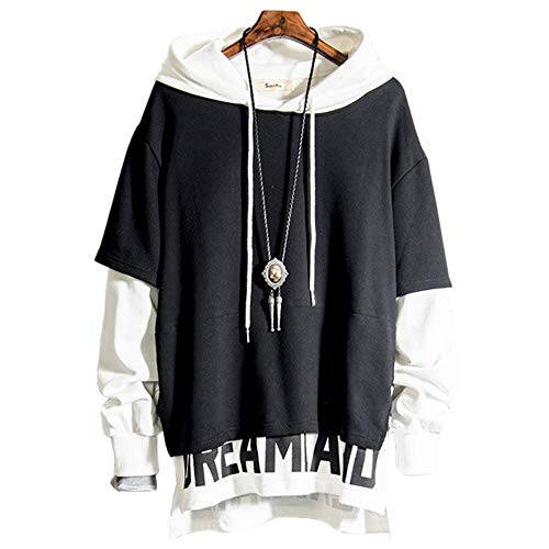 XIAOYAO Herren Kapuzenpullover Long Sleeve Sweatjacke Pullover Hoodie (Schwarz+Weiß, XXXL(Höhe:180-185cm Gewicht:75-85kg))