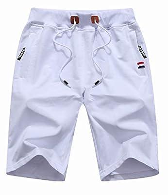 Sitmptol Big Boy's Junior Shorts Casual Cotton Workout Elastic Waist Short Pants Drawstring Beach Shorts with Zipper Pockets 2XL White