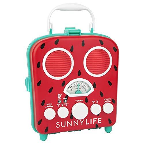 SunnyLIFE Tragbarer Strand-MP3-Lautsprecher mit AM/FM-Radio und Smartphone-Halter Einheitsgröße Watermelon S9