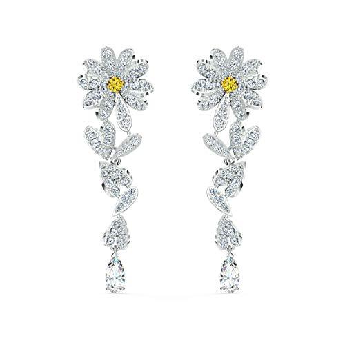 Swarovski Eternal Flower Ohrringe, Rhodinierte Ohrhänger im Gänseblümchen-Design mit Funkelnden Swarovski Kristallen