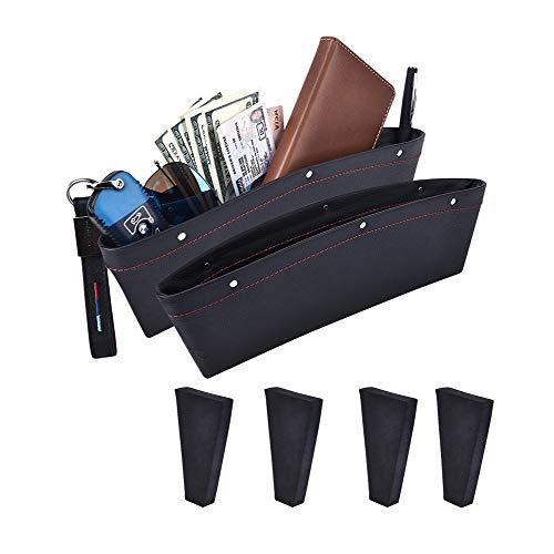 Car Seat Gap Filler, ALAVISXF [2 Pack] Universal Leather Car Seat Pocket Organizer, with 4 Spacer Between Seats Gap Filler to Hold Keys, Coins, Phone, Cards, Pens (Black)
