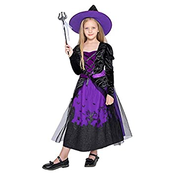 WESPREX Cauldron Witch Costume Set for Girls with Hat & Magic Wand  Small
