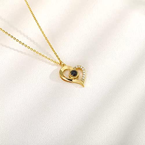 Colgante de collar Collar de corazón de idiomas de color dorado a la moda para mujer collar de acero inoxidable con diamantes de imitación con forma de amor y proyección te amo Regalo para ella