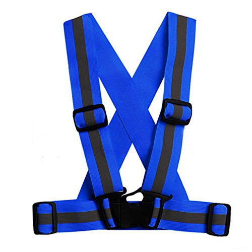 LIZHOUMIL Unisex Adjustable Reflective Vest High Visibility Safety Straps for Jogging Cycling Walking Running Dark blue
