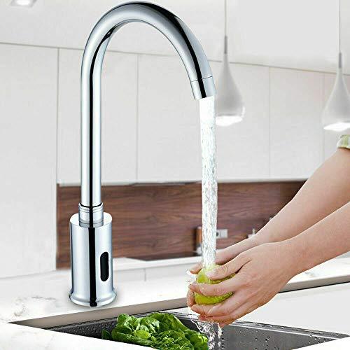 Grifo de lavabo con sensor automático de inducción, grifo por infrarrojos, grifo de agua fría individual para cuarto de baño, baño, cocina, hotel, lugar público