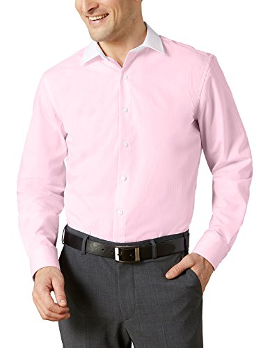Walbusch Herren Hemd Bügelfrei Milano Streifen gestreift Rose 38 - Langarm