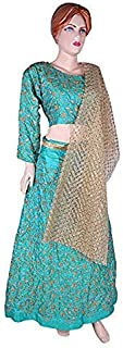 Indian Dresses Store Impressive Designer Lehenga Choli and net duppatta with Beautiful embroidary on Silk Sky Blue