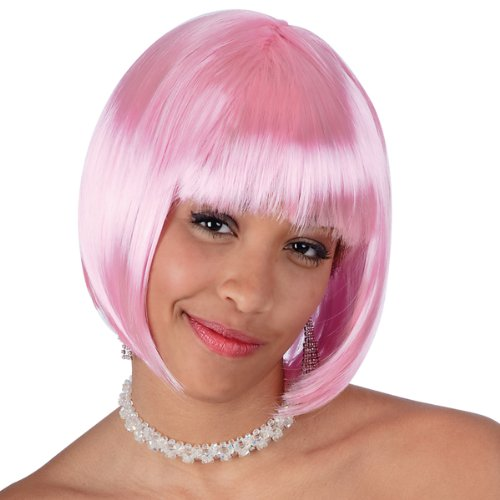 Parrucca Lovely rosa pastello caschetto con frangia