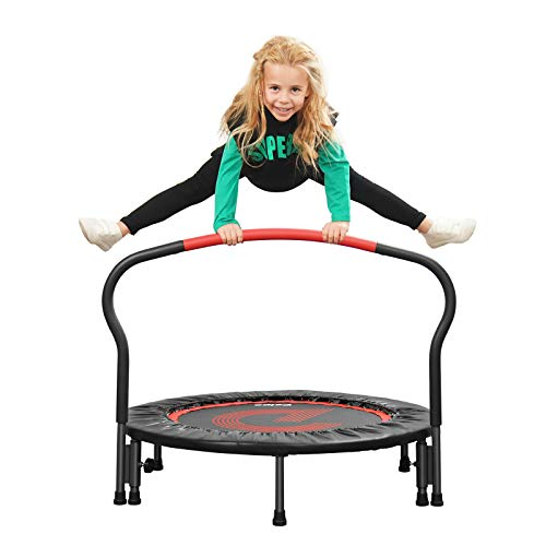 """pelpo 36"""" Folding Mini Trampoline, Safety Pad Rebounder with Foam Handle, Play Exercise Bounce for 3-6 Years Kids Toddler Indoor Max Load 180lb, Black"""