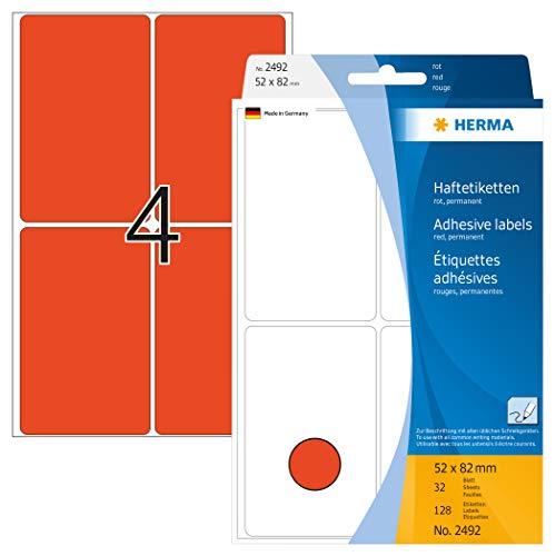 HERMA 2492 Vielzweck-Etiketten groß (52 x 82 mm, 32 Blatt, Papier, matt) selbstklebend, permanent haftende Haushaltsetiketten zur Handbeschriftung, 128 Haftetiketten, rot