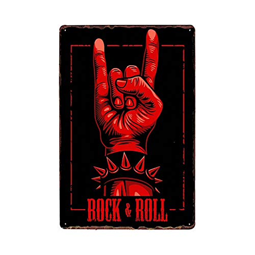20 x 30 cm Poster in metallo con teschio e scritta in inglese Sign Rock KUSTOM FACTORY