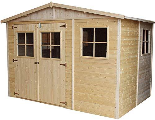 TIMBELA Holz Gartenschuppen - Abstellkammer mit Fenstern - 216x324 cm/6 m² Naturholz-Shiplap-Schuppen - Gartenwerkstatt - Fahrrad- Geräteschuppen M334