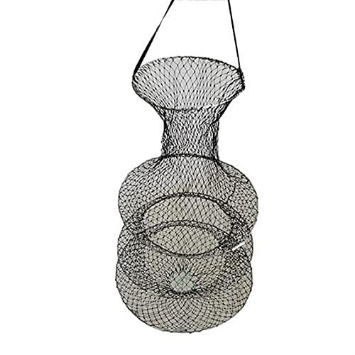 Herramientas de pesca fuertes y duraderas 3 capas de pesca neta jaula de pescado camarón de malla jaula pesca trampa plegable estaca portátil red red oxidada resistente a la corrosión preservativo