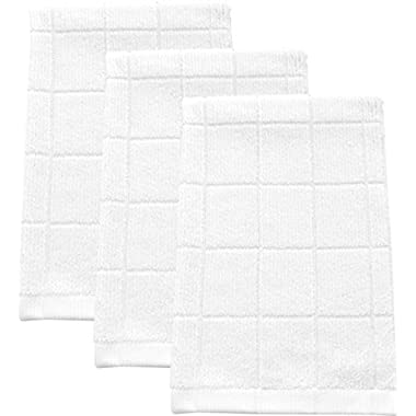 Absorbent, Quick-Drying Kitchen Dish Towels | Premium Bamboo and Microfiber Blend for Cleaning, Washing, and Drying | Durable Reinforced Edging | 26  X 16  White (Set of 3)