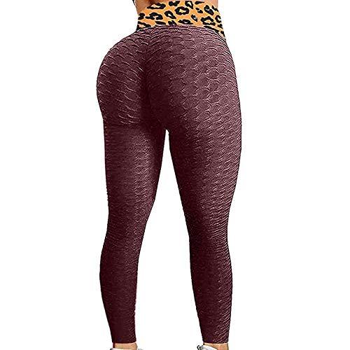 Mallas Deporte Mujer Estampado de Leopardo Panal Arrugado Color sólido Leggins Mujer Push Up Sin Costura para Yoga Fitness Gimnasio