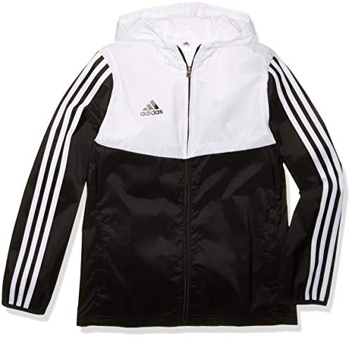 adidas Kids' Tiro Soccer Windbreaker, Black/White, Large