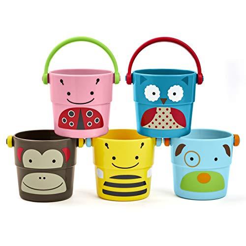 Skip Hop Zoo Bath - Stack & Pour Buckets - Badespielzeug kleine Becher zum Stapeln