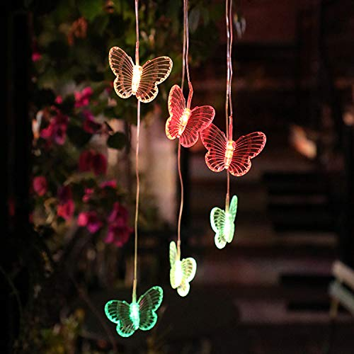 Adaskala Luces solares LED Colgante de jardín Luces Coloridas Colgante Pájaro Forma de Mariposa Lámpara LED Pasarela Pasarela Césped Patio Iluminación del Patio Trasero Lámpara Decorativa de Paisaje