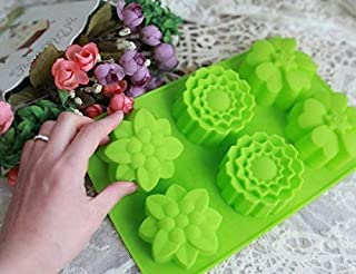 Perfect Pricee 6 Cavity Silicone Flower Shape Soap Mold for Baking Cupcakes Muffin, Multicolour