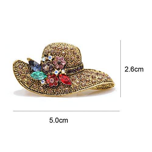 ERDING Vintage broche/speld met strass-steentjes in antiek goud voor vrouwen accessoire voor bruidsjurk
