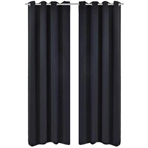 FZYHFA verduisterende gordijnen met metalen ringen 135 x 245 cm zwart black-out van 100% polyester