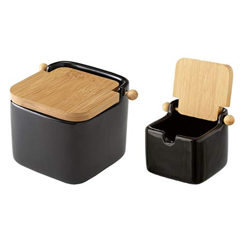 D,casa - Salero y azucarero de Cocina Negro de Ceramica con Tapa de Bambu