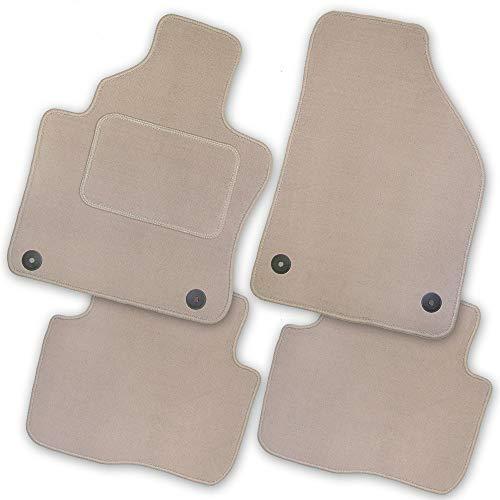 Bär-AfC VW05019 Royal Auto Fußmatten Velours Beige, Rand Kettelung Beige, Textiler Trittschutz, Set 4-teilig, Passgenau für Modell Siehe Details