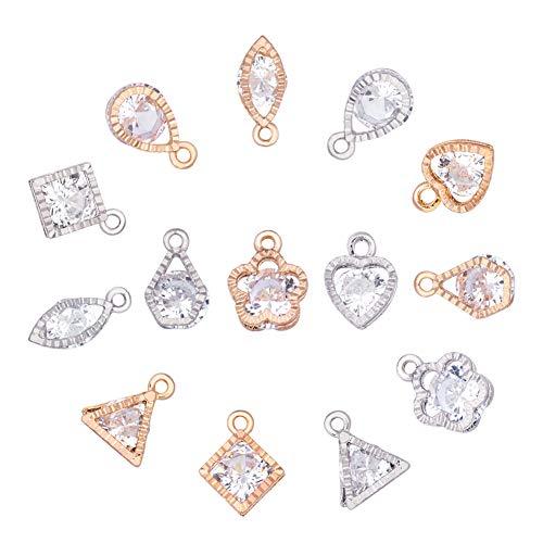 PandaHall - 70 Cajas Colgantes con Forma de corazón, Gota, Estrella Triangular, con Forma de Mista de circonia cúbica y aleación y Colgantes de Cristal para Pulseras, Collares, Joyas