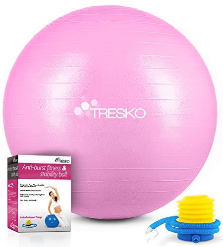 TRESKO Gymnastikball mit GRATIS Übungsposter inkl. Luftpumpe - Yogaball BPA-Frei   Sitzball Büro   Anti-Burst   300 kg,Princess-Rosa,65cm (für Körpergröße 155 - 175cm)