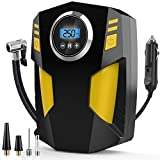 Digital Tyre Inflator, DC 12V Portable Air Compressor Car Tyre Pump with 3 Nozzle Adaptors and Digital LED Light, Electric Air Pump Tyre Inflation Auto Shut Off Accurate Pressure Control