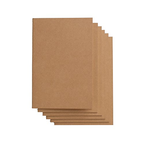 Travel Journal Set With 6 Notebook Journals for Travelers - Kraft Brown Soft Cover - A5 Size - 210 mm x 140 mm - 60 Square Grid Pages/ 30 Sheets