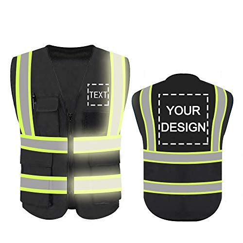 Personalized High Reflective Visibility Safety Vest Custom Your Logo Protective Safety Workwear with Reflective Strips and Front Zipper(Black-Green Webbding X-Large)