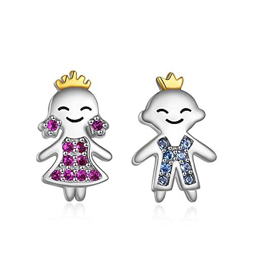 Pendientes de plata de ley para mujer, príncipe y princesa, con circonita, hipoalergénicos, regalos para novia, esposa, hija