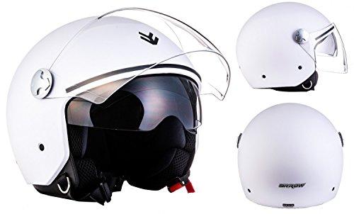 """ARMOR · AV-63 """"Matt White"""" (Weiß) · Jet-Helm · Scooter-Helm Mofa Roller Motorrad-Helm Bobber..."""