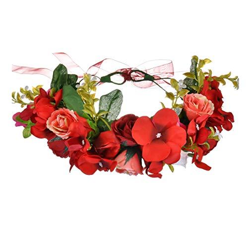 LLinfflr Flower Garland Headband Rose Flower Crown Hair Wreath Floral Halo Headpiece Boho with Ribbon Wedding Party Photos Red