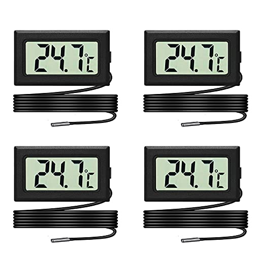 Set di 4 termometri LCD per acquario, termometro digitale digitale con sonda impermeabile per acquario, terrario e vivaio