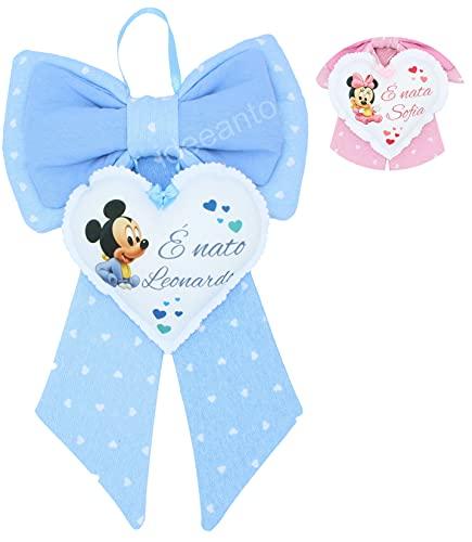 Fiocco nascita coccarda nascita personalizzato con il nome del tuo bambino/a Made in Italy (Bimbo)