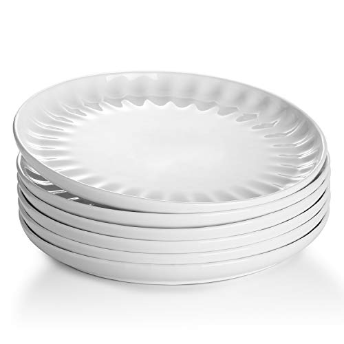 Sweese 160.001 Porcelain Inner Fluted Dinner Plates - 10 Inch - Set of 6, White