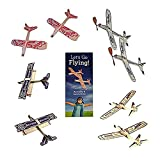 Jetfire Glider Balsa Wood Airplane Kits by Guillows Bullseye Biplane - Sky Streak Airplane Wind Up Rubber Band Powered Toys Bundle for Kids with Sunny Glider Planes