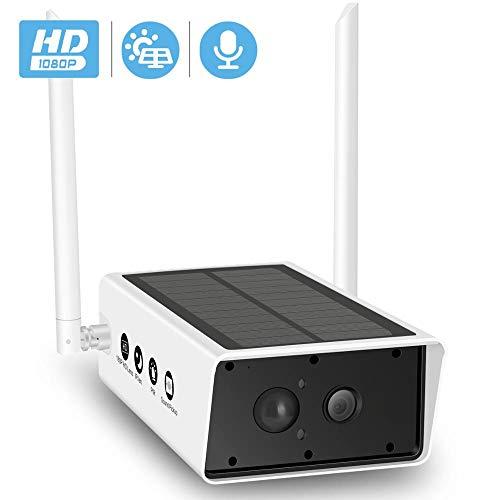 1080P Zonnecamera, wifi, TF-kaartsleuf, 10200 mAh, op batterijen, IP-camera buitenshuis met PIR-bewegingsmelder
