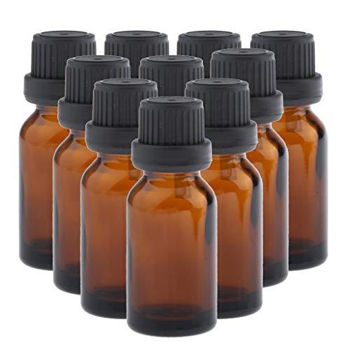 dailymall 10pcs Mini Verre Ambre Marron Bouteille Rechargeable Vide Petite Flacon de Parfum D'huile Essentielle Format Voyage - 10 ml
