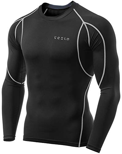 TSLA Men's Cool Dry Fit Long Sleeve Compression Shirts, Athletic Workout Shirt, Active Sports Base Layer T-Shirt, Athletic(mud11) - Black & Light Grey, Large